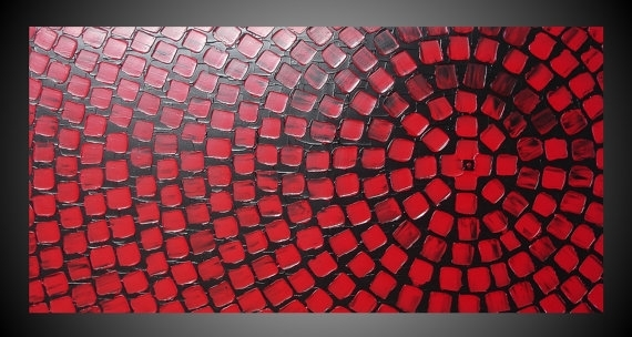 Black And Red Painting On Large Canvas Wall Art Deco Squares Inside Red Canvas Wall Art (Image 3 of 15)
