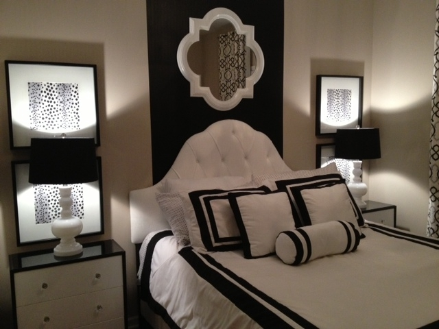 Black And White Bedroom With Diy Wall Art And Ikea Nightstand Regarding Black And White Fabric Wall Art (View 10 of 15)