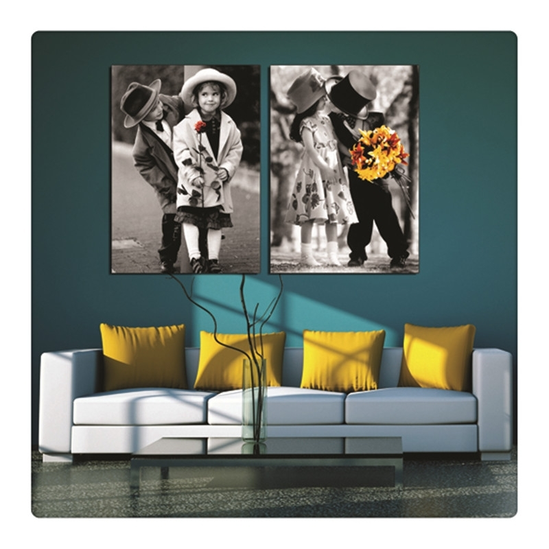 Black And White Little Pair Of Lovers With Flowers Wall Pictures pertaining to Canvas Wall Art Pairs