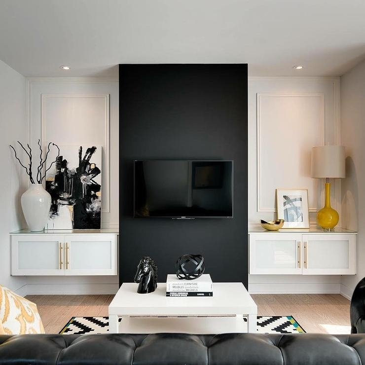Black And White Living Room With Yellow Accents – Contemporary For Wall Accents With Tv (Image 8 of 15)