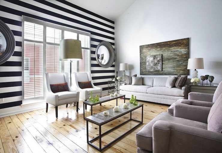 Black And White Striped Wall – Transitional – Living Room – Ty Pertaining To Horizontal Stripes Wall Accents (Image 5 of 15)