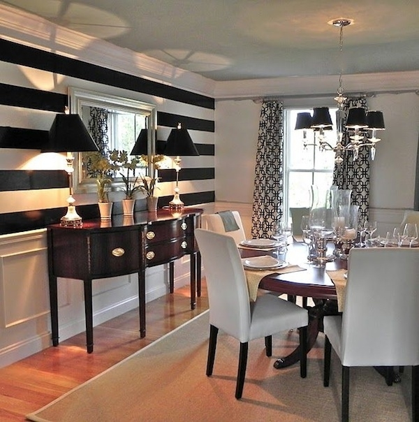 Black And White Stripes In The Dining Room (Image 6 of 15)