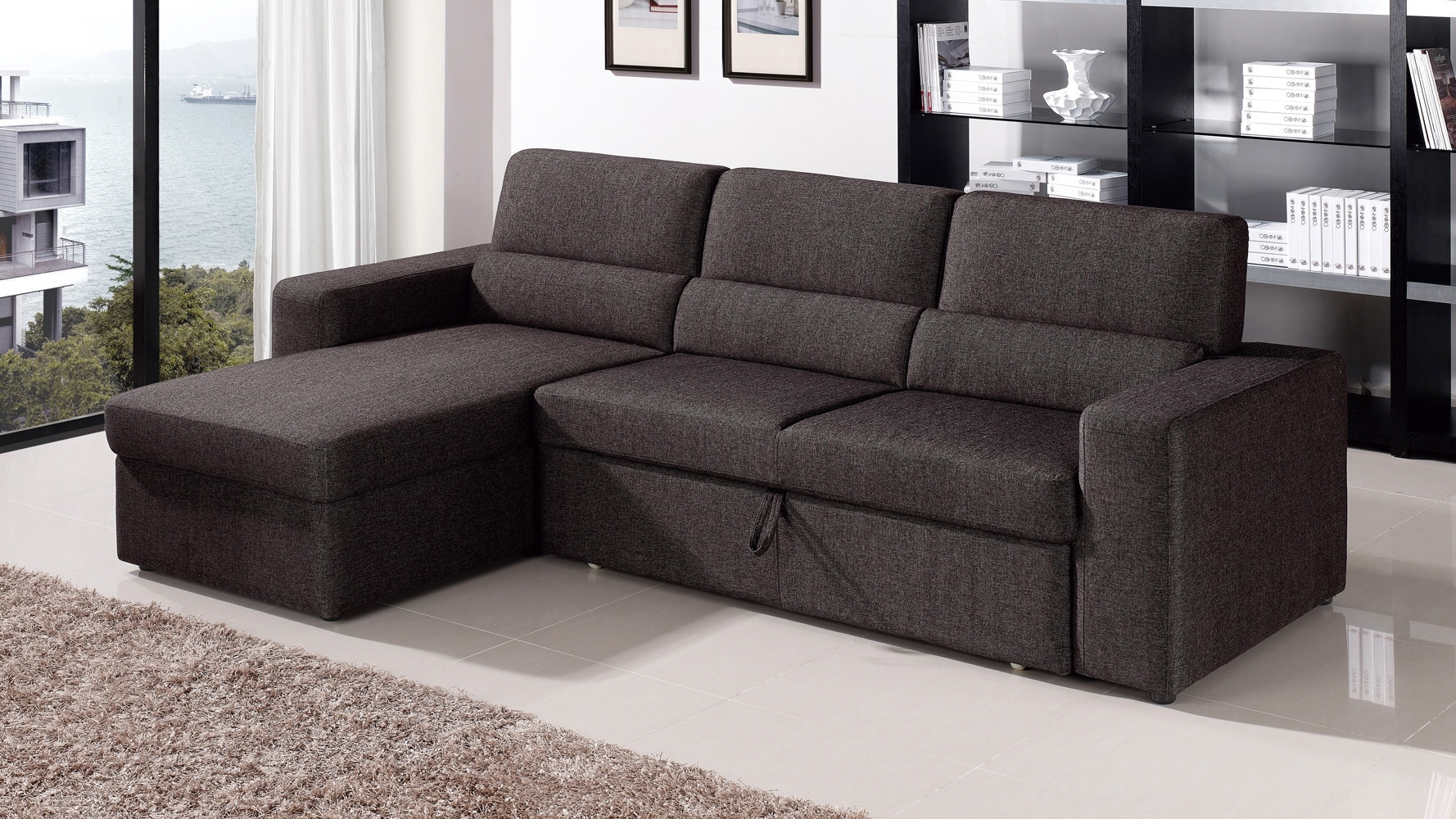 Black/brown Clubber Sleeper Sectional Sofa | Zuri Furniture Throughout Black Sectional Sofas (Image 6 of 10)