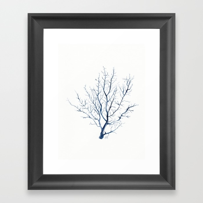 Black Coral Sea Fan Framed Art Printsandraovono | Society6 Inside Framed Coral Art Prints (View 13 of 15)