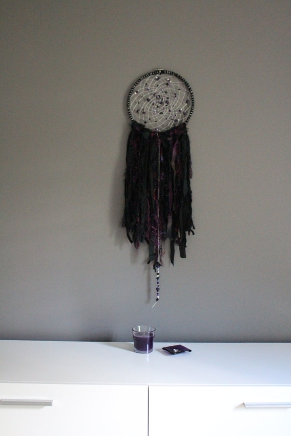 Black Fabric Wall Art Purple Dreamcatcher Silver Boho Wall – Super With Dreamcatcher Fabric Wall Art (View 15 of 15)