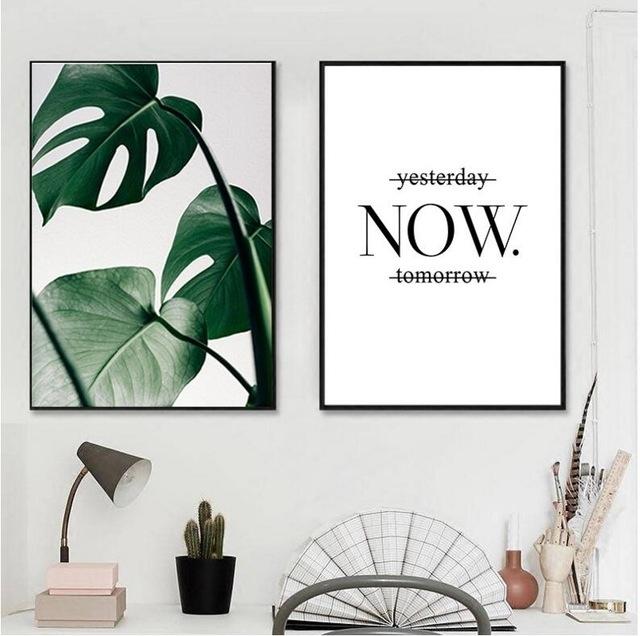 Black Framed Slogan Green Leaves Wall Art Set Canvas Art Palm Tree For Leaves Canvas Wall Art (Image 3 of 15)