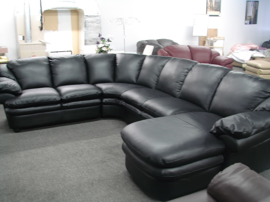Black Leather Couch (Image 2 of 10)