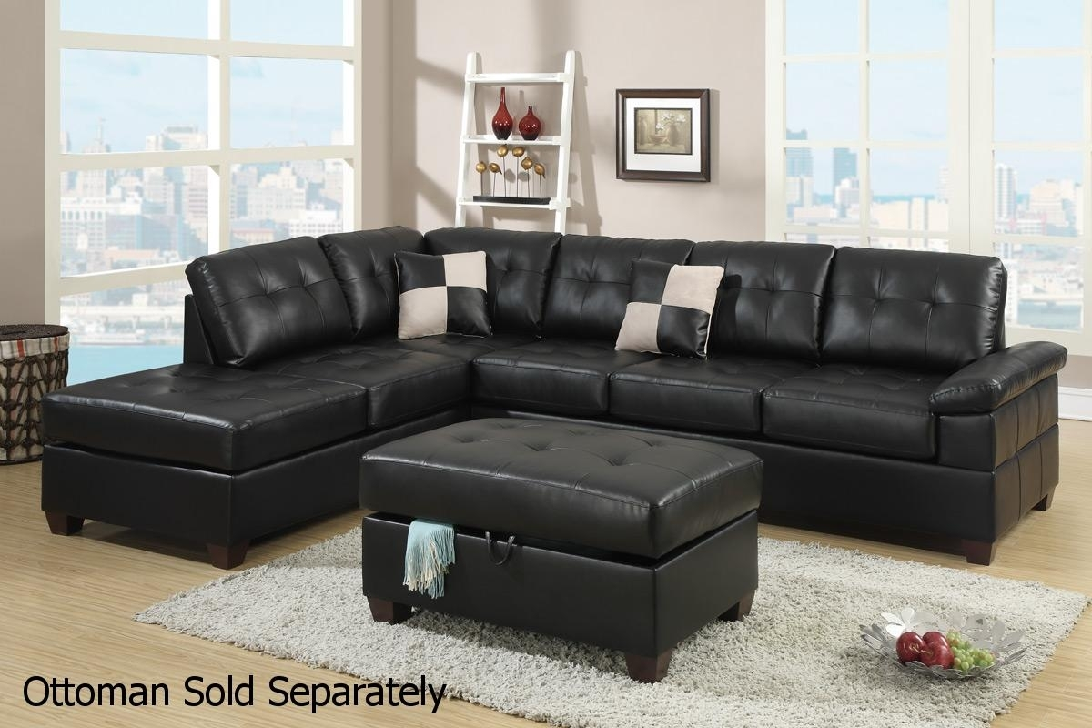 Black Leather Sectional Sofa – Steal A Sofa Furniture Outlet Los Within Black Leather Sectionals With Ottoman (Image 3 of 10)