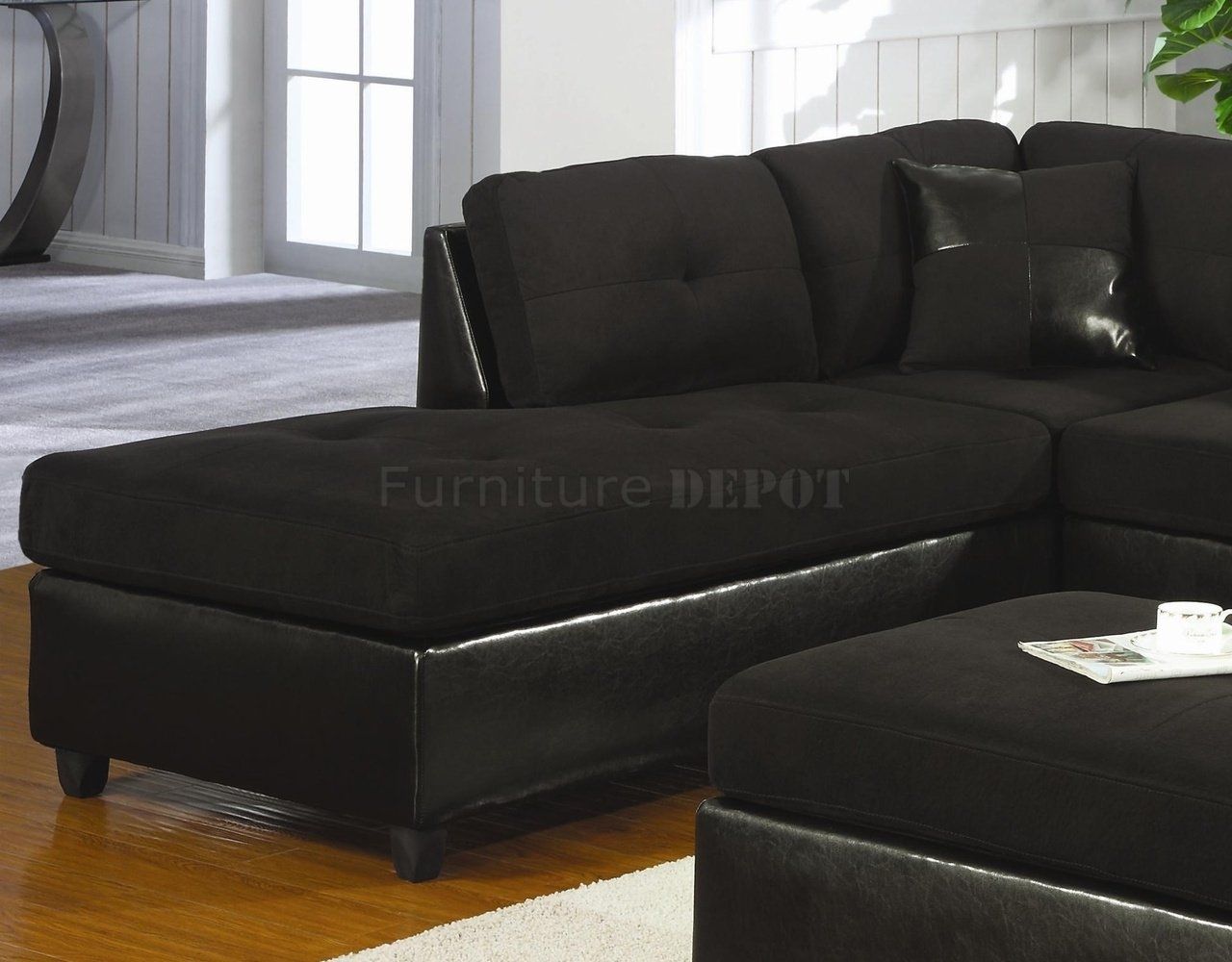 Black Microsuede Couch | Microfiber & Faux Leather Contemporary Inside Black Sectional Sofas (Image 5 of 10)