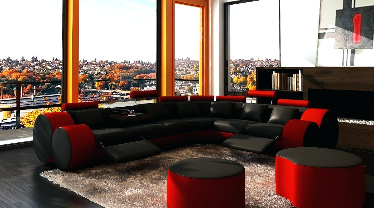 Black Sectional Couch Microfiber Sofa With Chaise Leather Cheap With Regard To Red Black Sectional Sofas (Image 2 of 10)