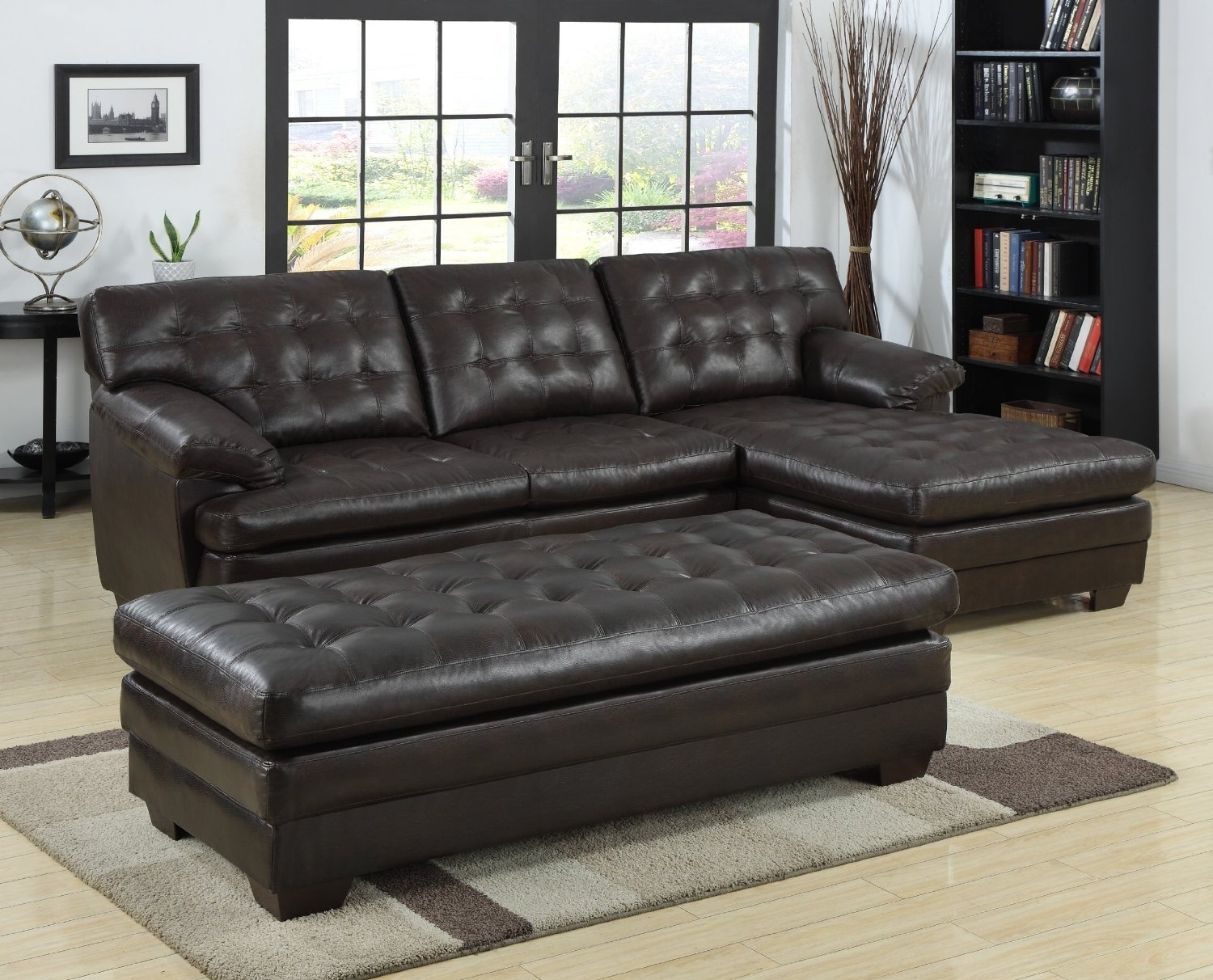Black Tufted Leather Sectional Sofa With Chaise And Bench Seat Plus In Leather Sectionals With Chaise And Ottoman (Image 3 of 10)