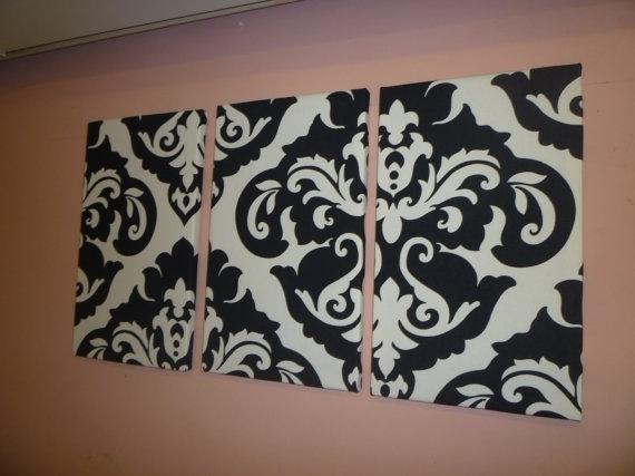 Black White Damask Fabric Wall Art Funky Retrowickedwalls Regarding Damask Fabric Wall Art (Image 4 of 15)