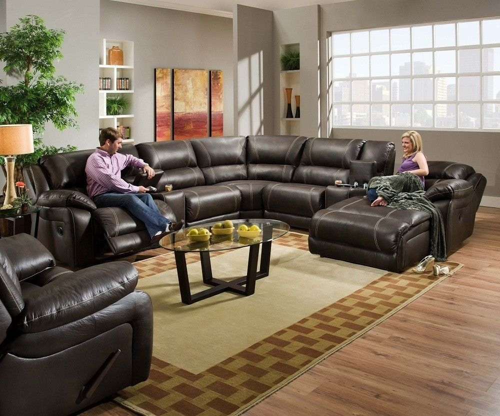 Blackjack Simmons Brown Leather Sectional Sofa Chaise Lounge Theater Pertaining To Sectional Sofas With Recliners Leather (Image 2 of 10)