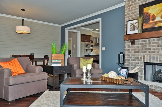 Blue Accent Wall – Transitional – Living Room – Birmingham – Pertaining To Blue Wall Accents (Image 4 of 15)