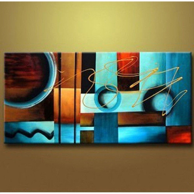 Blue And Brown Circles Modern Abstract Oil Painting Canvas Wall With Regard To Blue And Brown Canvas Wall Art (Image 2 of 15)