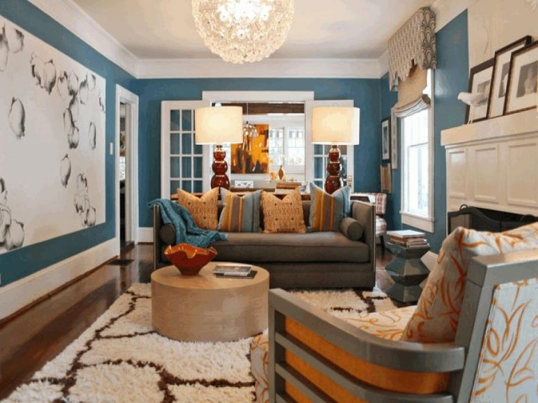 Blue And Brown Living Rooms Light Blue Wall Paint Color Ocean Regarding Wall Accents With Beige (Image 3 of 15)