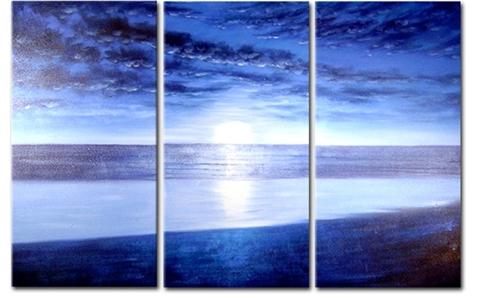 Blue Beach – Original Artwork | 50% Off @ Canvas Paintings Pertaining To Beach Canvas Wall Art (Image 5 of 15)