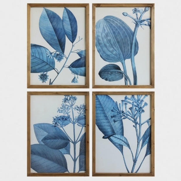 Blue Botanical Framed Art Prints, Set Of 4 | Antique Farmhouse Within Framed Art Prints Sets (View 15 of 15)