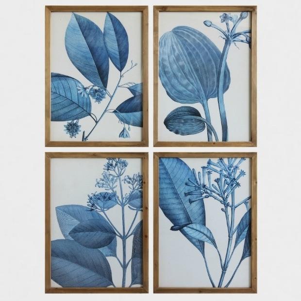 Blue Botanical Framed Art Prints, Set Of 4 | Antique Farmhouse Within Framed Art Prints Sets (Image 5 of 15)