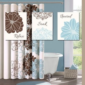 Blue Brown Bathroom Wall Art Canvas Or From Trm Design | Wall Art With Regard To Blue And Brown Canvas Wall Art (View 5 of 15)