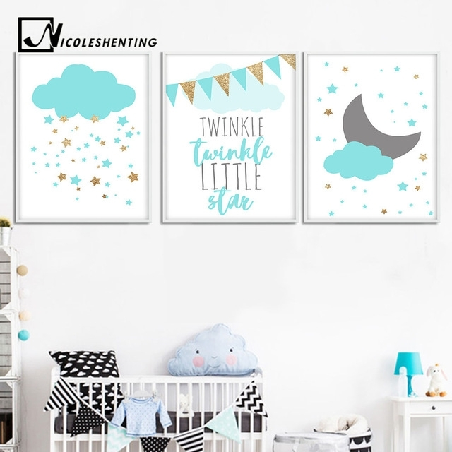 Blue Clouds Moon Nursery Canvas Wall Art Posters And Prints Large Throughout Nursery Canvas Wall Art (Image 9 of 15)