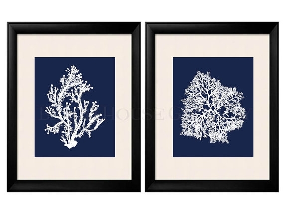 Blue Coral Wall Art Navy Blue Coral Print Navy White Wall Inside Navy Canvas Wall Art (Image 3 of 15)