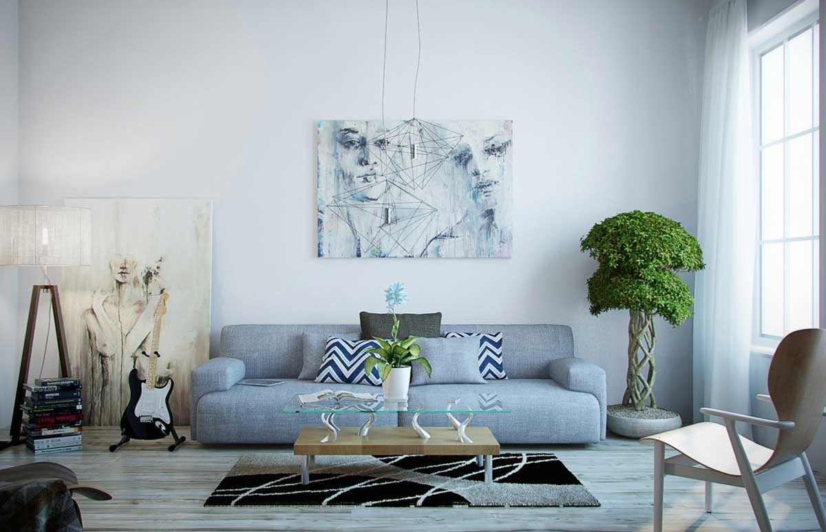 Blue Gray Living Room Wall Decorations – Dayri Inside Light Blue Wall Accents (View 12 of 15)