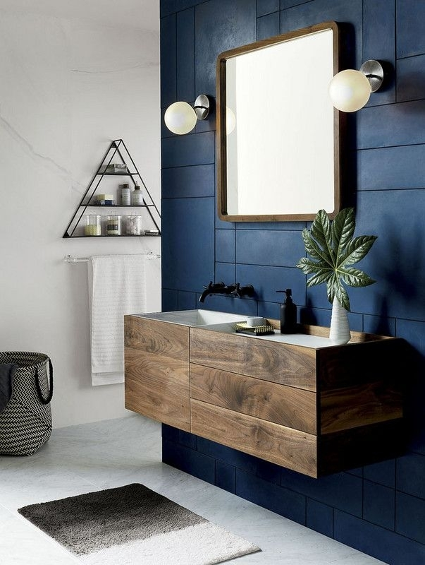 Blue Hued Bathrooms That Will Help You Sell Your House | Famous Throughout Navy Wall Accents (Image 3 of 15)