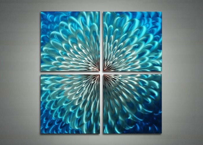 Blue Metal Art – Abstract Wall Art Painting – 32X32In | Fabu Art Pertaining To Abstract Metal Wall Art Painting (Image 7 of 15)