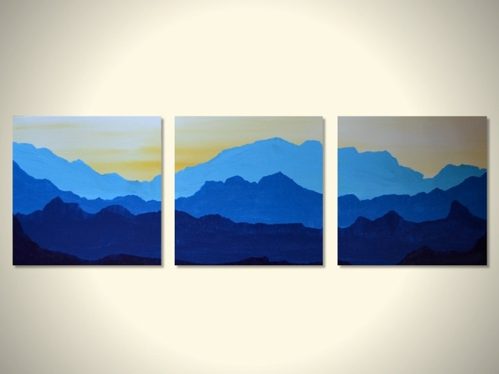 Blue Mountains: Large Original Triptych Landscape Painting Wall Inside Mountains Canvas Wall Art (View 7 of 15)
