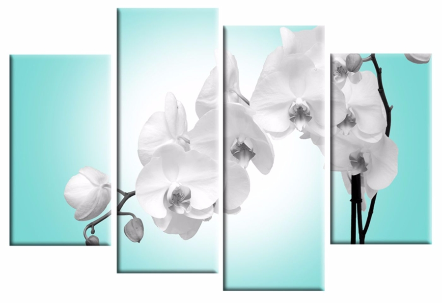 Blue Orchid 4 Panel Canvas Wall Art Print 40 Inch 101 Cm For Duck Egg Blue Canvas Wall Art (Image 2 of 15)
