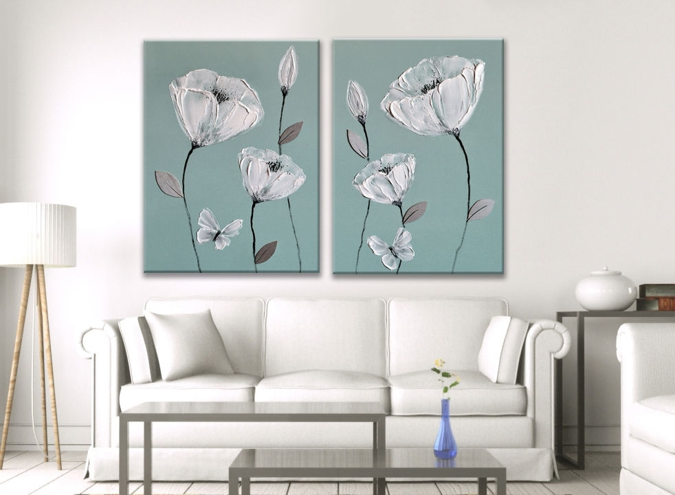 Blue Painting Picture White Grey Flower Butterfly Zen Canvas Art Regarding Duck Egg Canvas Wall Art (Image 3 of 15)