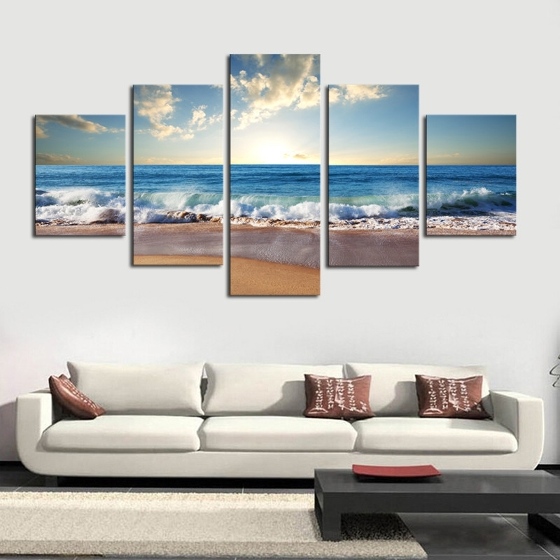 Blue Sky Beach Scene Canvas Print 5 Piece Set – Made In The Usa Within Canvas Wall Art Beach Scenes (View 15 of 15)