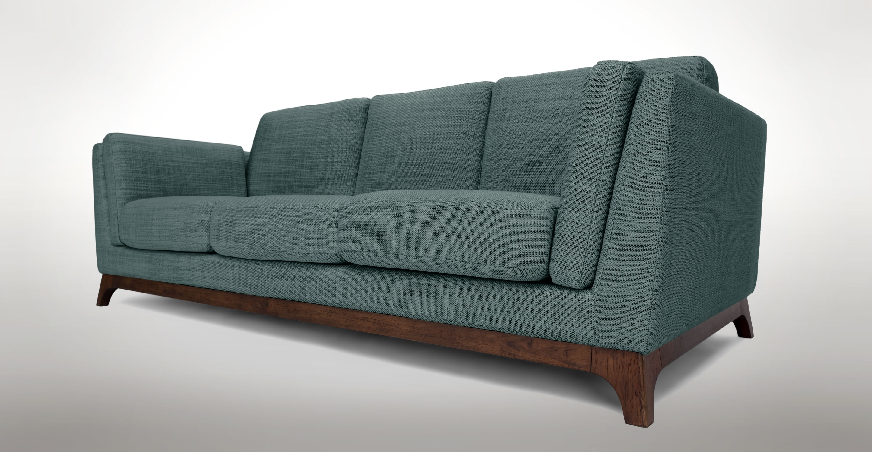 Blue Sofa 3 Seater With Solid Wood Legs | Article Ceni Modern With Aqua Sofas (View 7 of 10)
