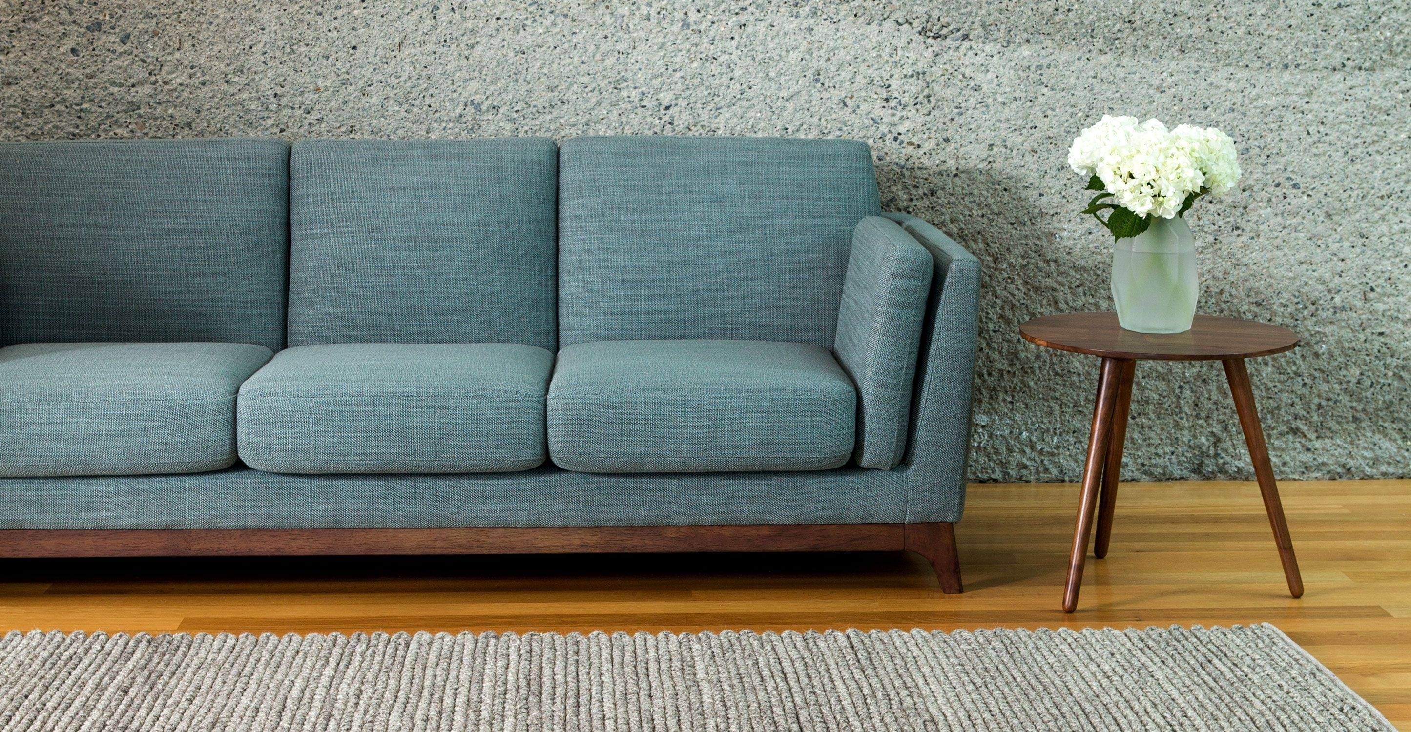 Blue Sofa 3 Seater With Solid Wood Legs | Article Ceni Modern Within Aqua Sofas (Image 6 of 10)