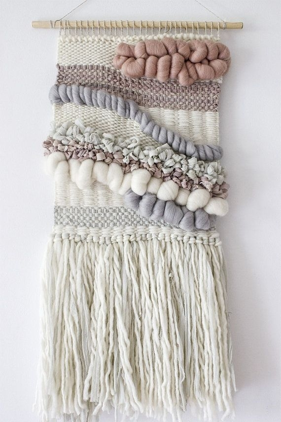 Blush, Grey, White Woven Wall Hanging | Woven Wall Art | Wall Intended For Woven Fabric Wall Art (Image 3 of 15)