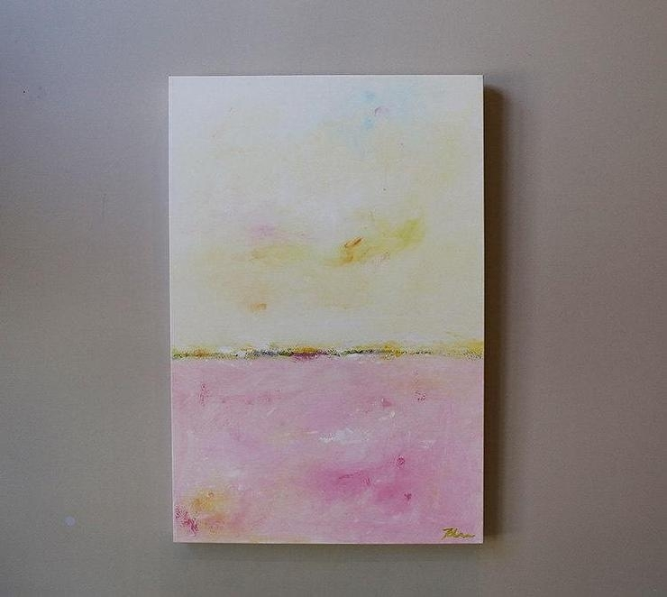 Blush Horizon Abstract Painting Throughout Abstract Horizon Wall Art (View 15 of 15)