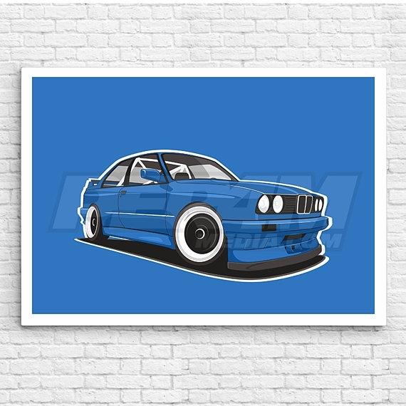 Bmw E30 M3 Canvas / Wall Art / Car Canvas / Oldschool Car / Inside Bmw Canvas Wall Art (Image 3 of 15)