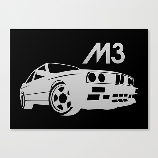 Bmw E30 M3 – Silver – Canvas Printvehicle | Society6 With Bmw Canvas Wall Art (Image 2 of 15)