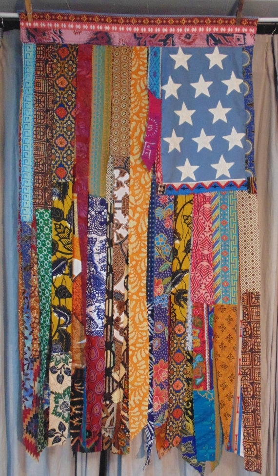 Boho American Flag Wall Art Hippie Window Bohemian Decor Gypsy With American Flag Fabric Wall Art (Image 6 of 15)