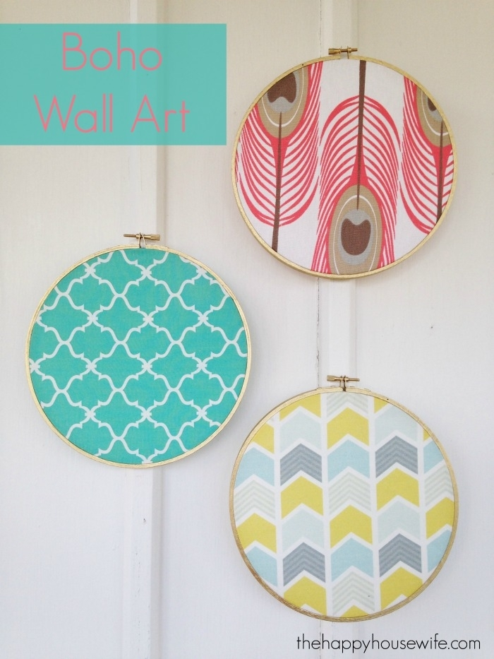Boho Fabric Wall Art – The Happy Housewife™ :: Home Management Throughout Fabric Circle Wall Art (View 12 of 15)