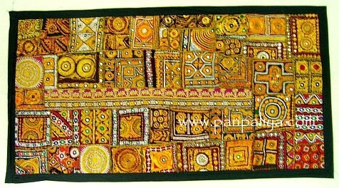 Boho Indian Antique Patch Work Throw Wall Hanging With Regard To Indian Fabric Wall Art (Image 2 of 15)