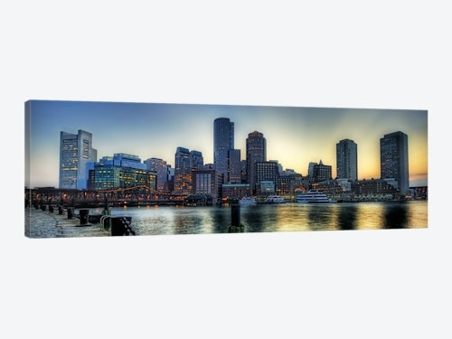 Boston Panoramic Skyline Cityscape Canvas Wall Art | Icanvas Intended For Panoramic Canvas Wall Art (Image 2 of 15)