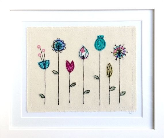 Botanical 8X10 Framed Wall Art Picture Gift, Stitched Fabric With Fabric Applique Wall Art (Image 7 of 15)