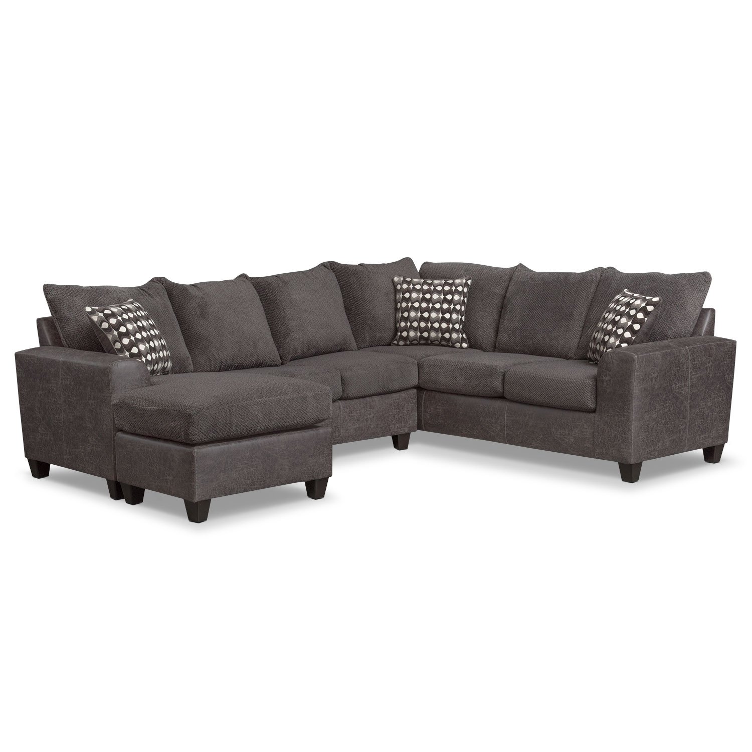 Brando 3 Piece Sectional With Modular Chaise – Smoke | Value City Inside Value City Sectional Sofas (Image 1 of 10)