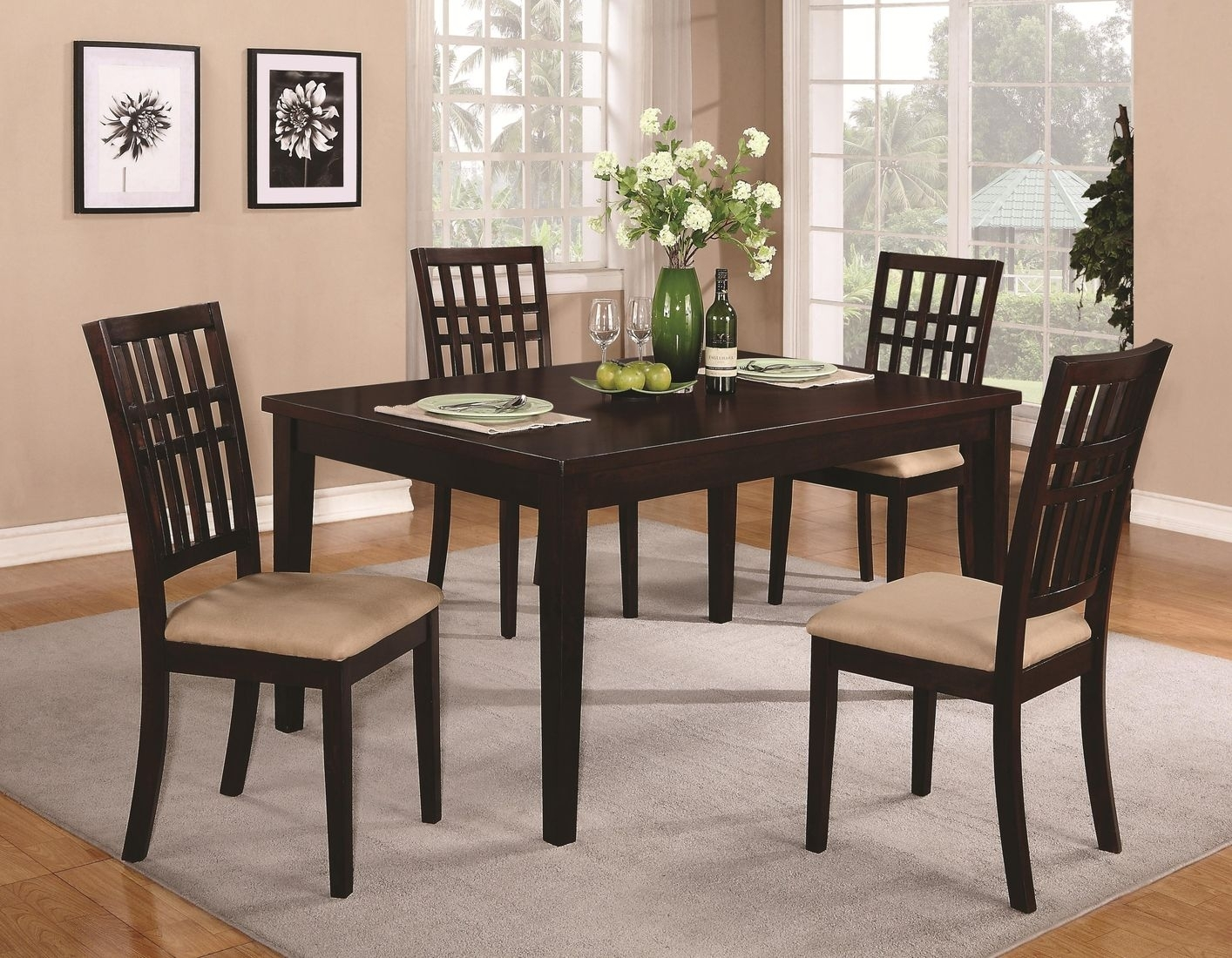 Brandt Dark Cherry Wood Dining Table Steal A Sofa Furniture And Also Inside Sofa Chairs With Dining Table (Image 1 of 10)