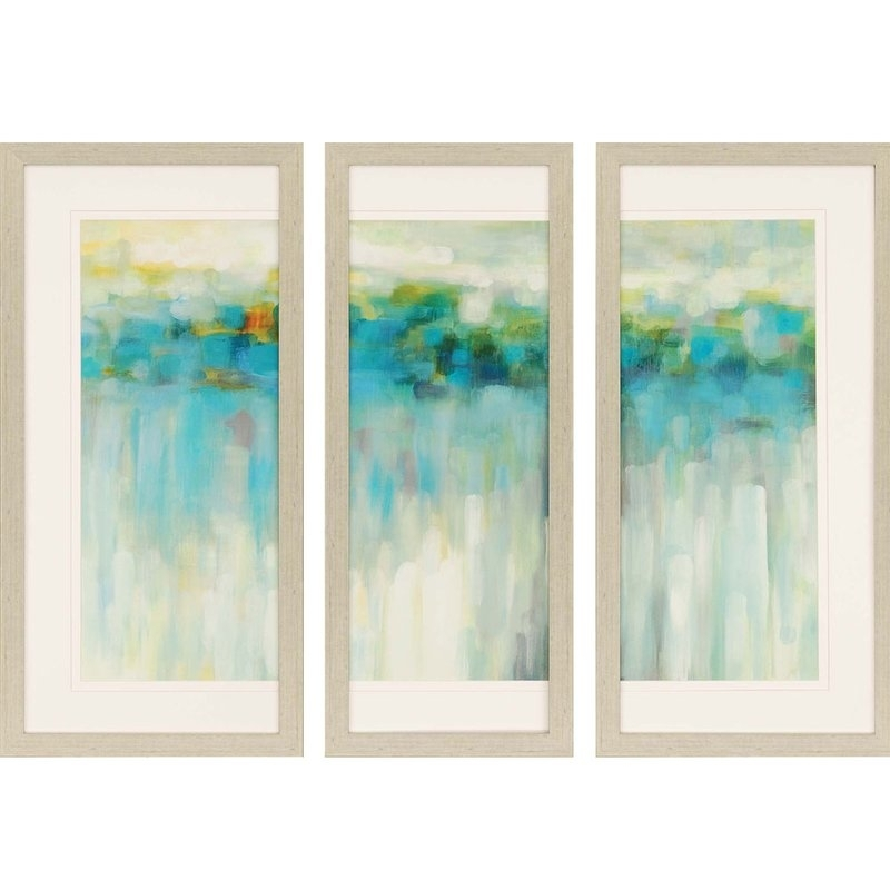 Brayden Studio 'lights On The Beach' 3 Piece Framed Painting Print For Framed Beach Art Prints (View 6 of 15)