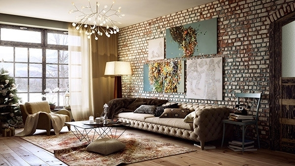 Brick Wall Accents In 15 Living Room Designs | Home Design Lover Inside Brick Wall Accents (Image 7 of 15)