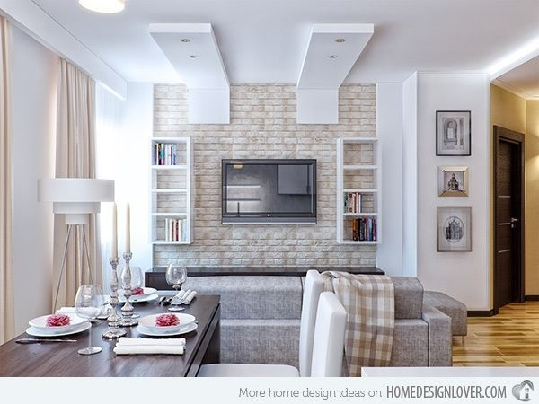 Brick Wall Accents In 15 Living Room Designs | Wall Accents Within Brick Wall Accents (View 11 of 15)
