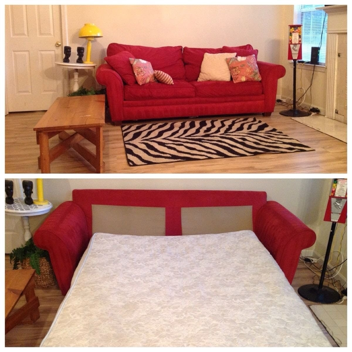 Bright Red Harvetys Sleeper Sofa Couch – Youtube Within Red Sleeper Sofas (Image 1 of 12)